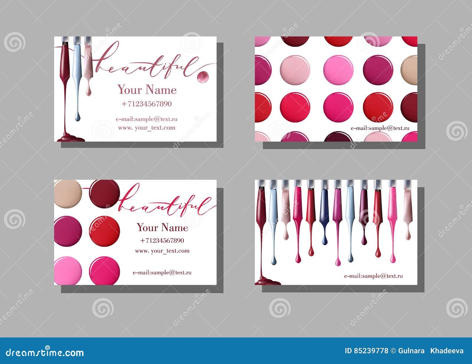 Makeup Artist Business Card. Vector Template With Makeup Items ...