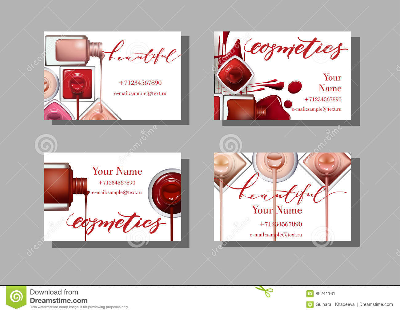 Makeup artist business card vector template with makeup items makeup artist business card vector template with makeup items pattern nail polish template vector alramifo Image collections