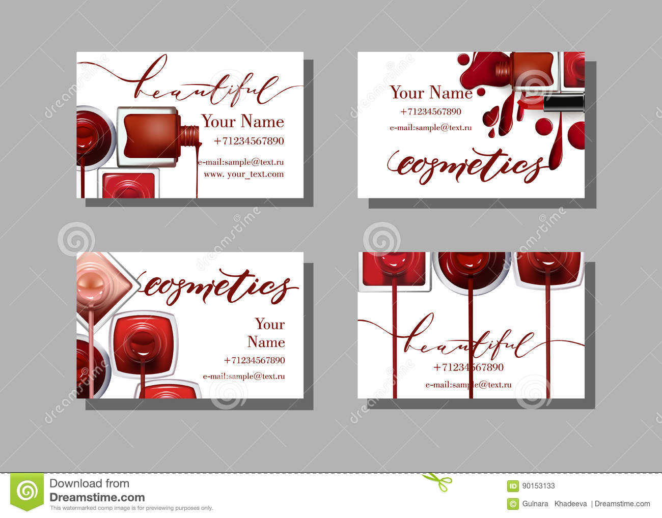 Makeup Artist Business Card. Vector Template With Makeup