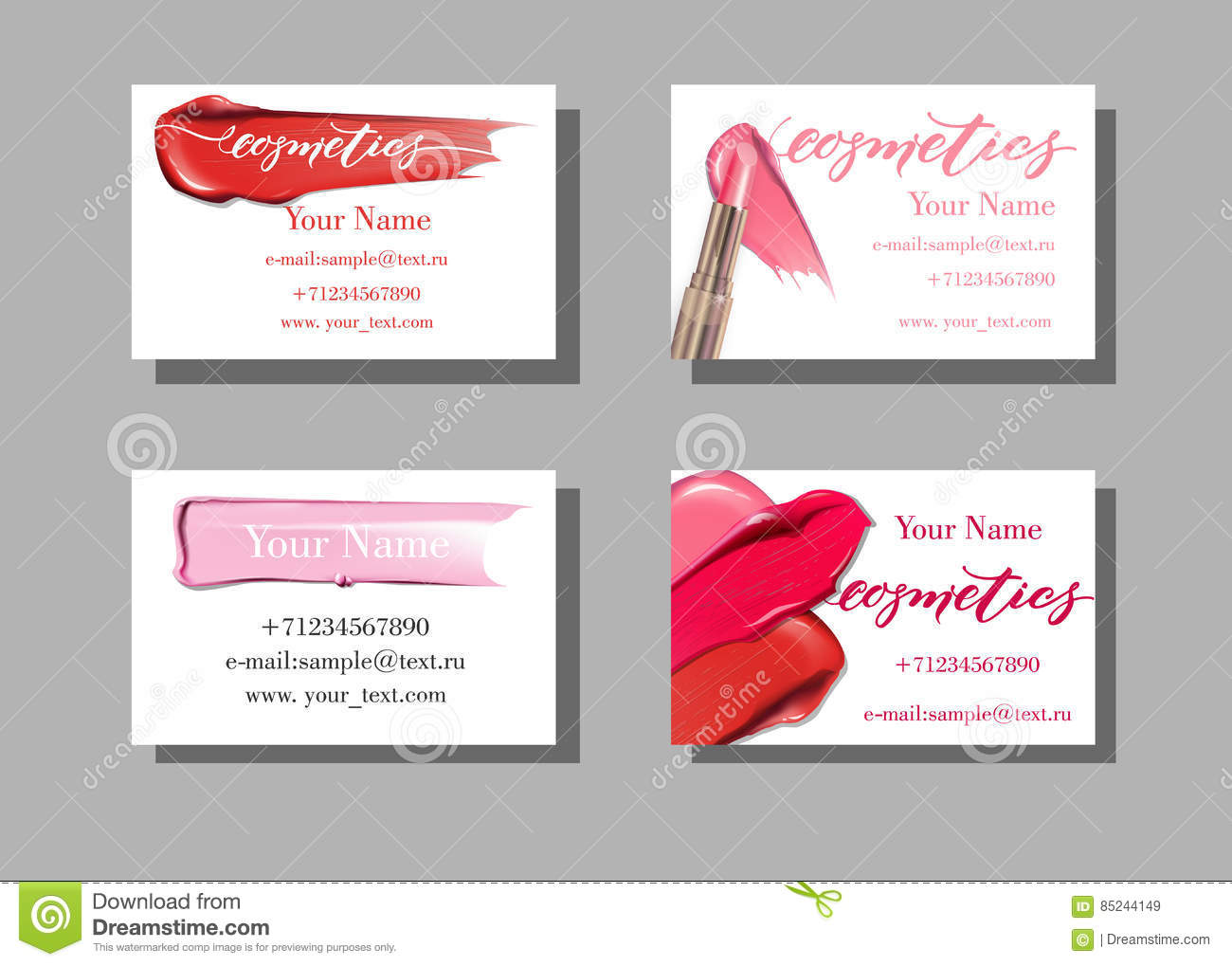 Makeup artist business card vector template with makeup items makeup artist business card vector template with makeup items pattern smears lipstick cheaphphosting