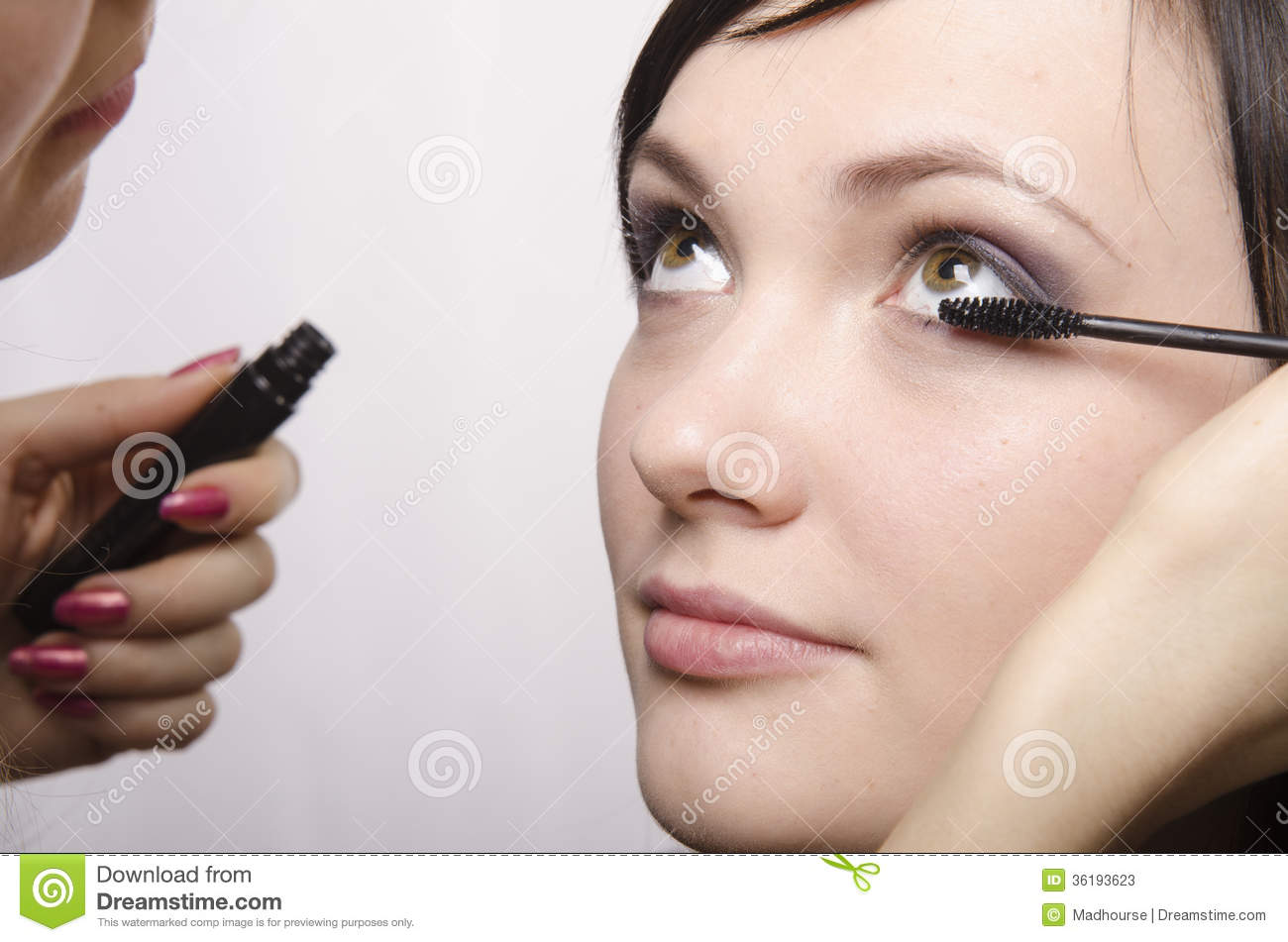 Makeup Artist In The Process Of Makeup Colors Eyelashes Model Stock