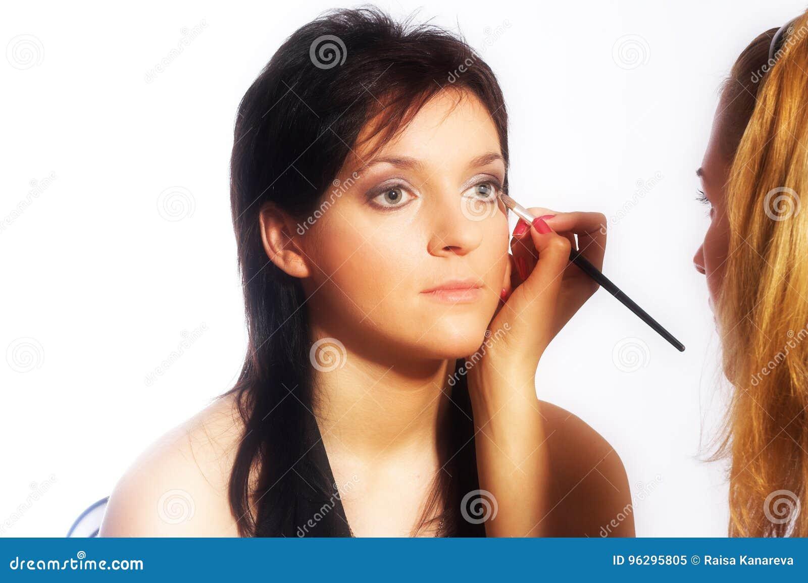 Makeup artist at work stock image  Image of make, human - 96295805