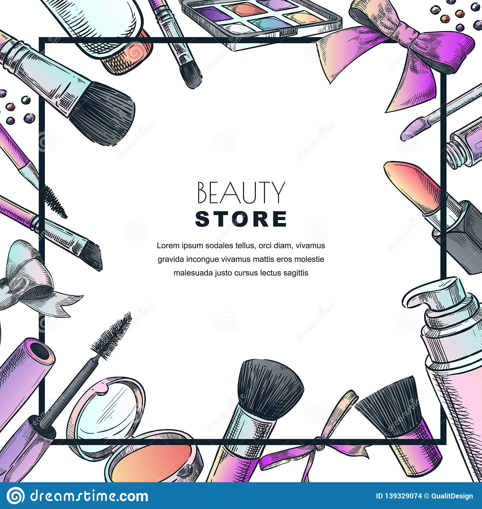 Makeup Banner Poster Or Label Design Template Sketch Illustration Of Facial Cosmetic Beauty Shop Background Stock Vector Illustration Of Lipgloss Blush 139329074