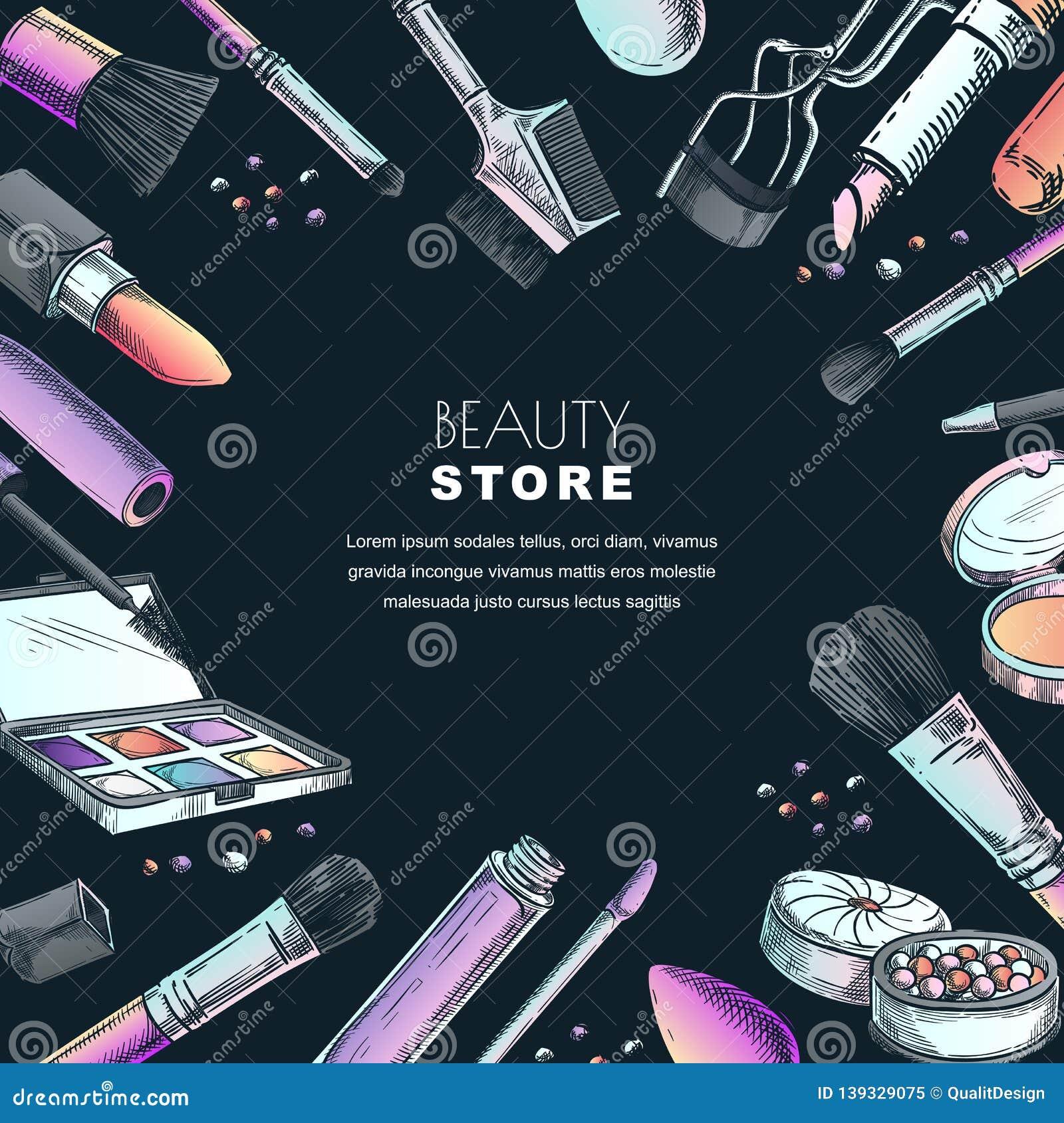 Makeup Banner Poster Or Label Design Template Sketch Illustration Of Facial Cosmetic Beauty Shop Background Stock Vector Illustration Of Eyelashes Doodle 139329075