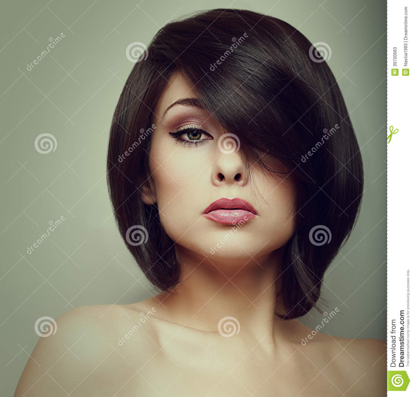 Makeup Beautiful Woman Face With Short Hair Style Stock Photo