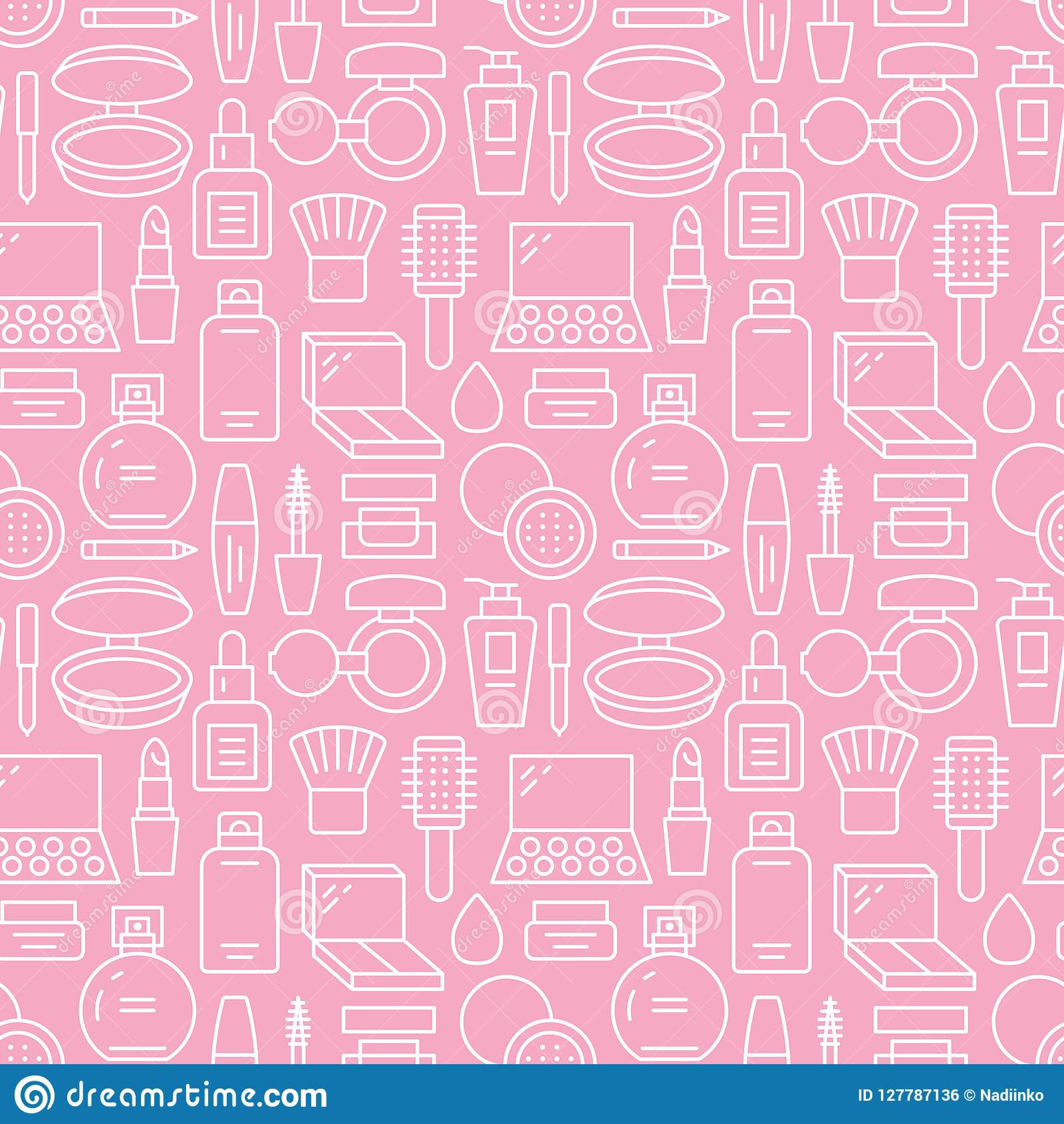 Makeup Beauty Care Pink White Seamless Pattern With Flat Line Icons Cosmetics Illustrations Of Lipstick Mascara Stock Vector Illustration Of Background Foundation 127787136