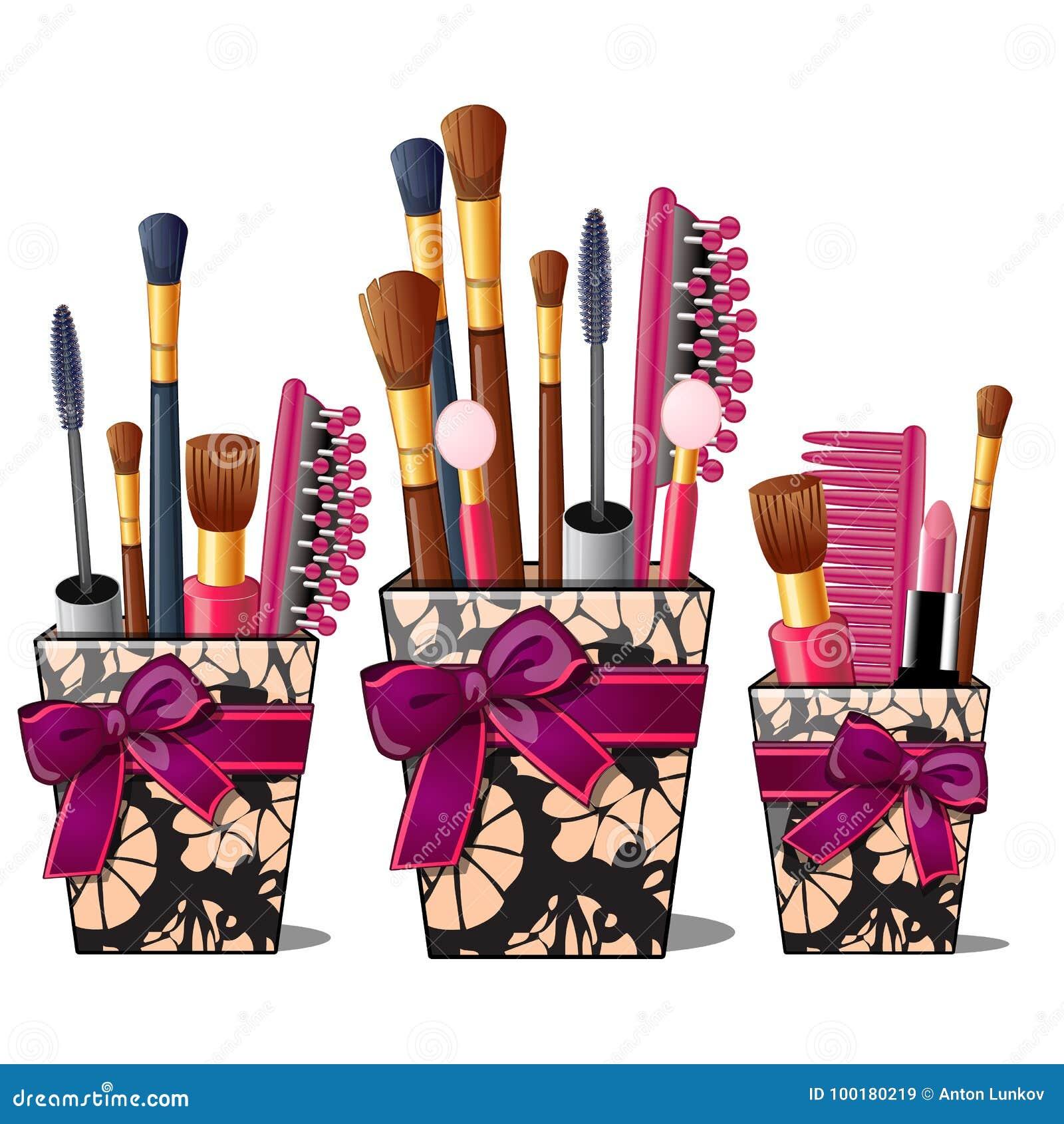 Makeup borstar, mascara, hårkam i ask med rosa färger bugar