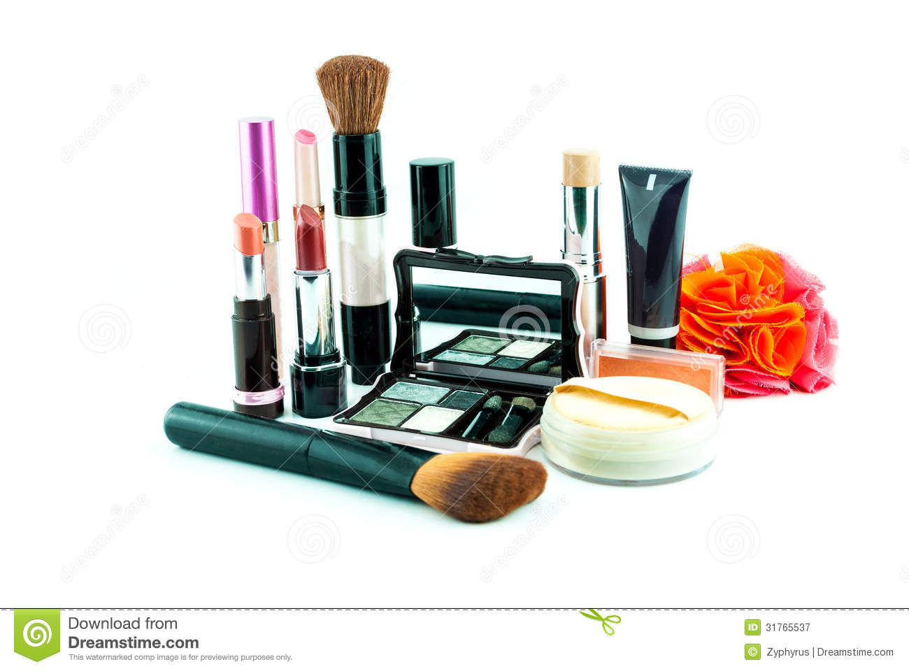 Download Makeup Brush And Cosmetics Set On A White Background Stock Image