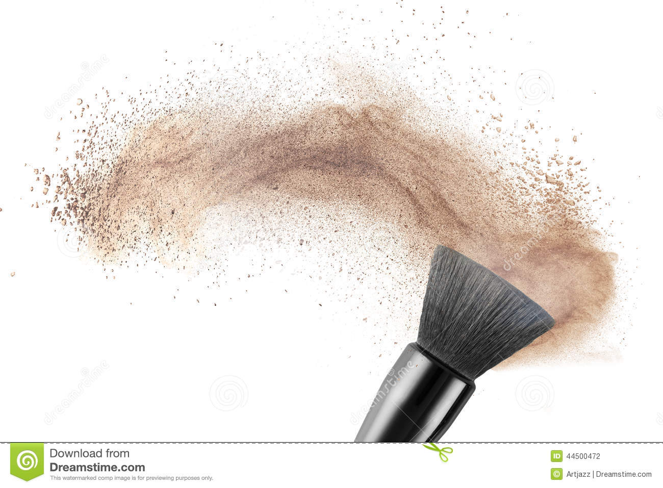 makeup brush with powder foundation isolated stock photo image 44500472. Black Bedroom Furniture Sets. Home Design Ideas