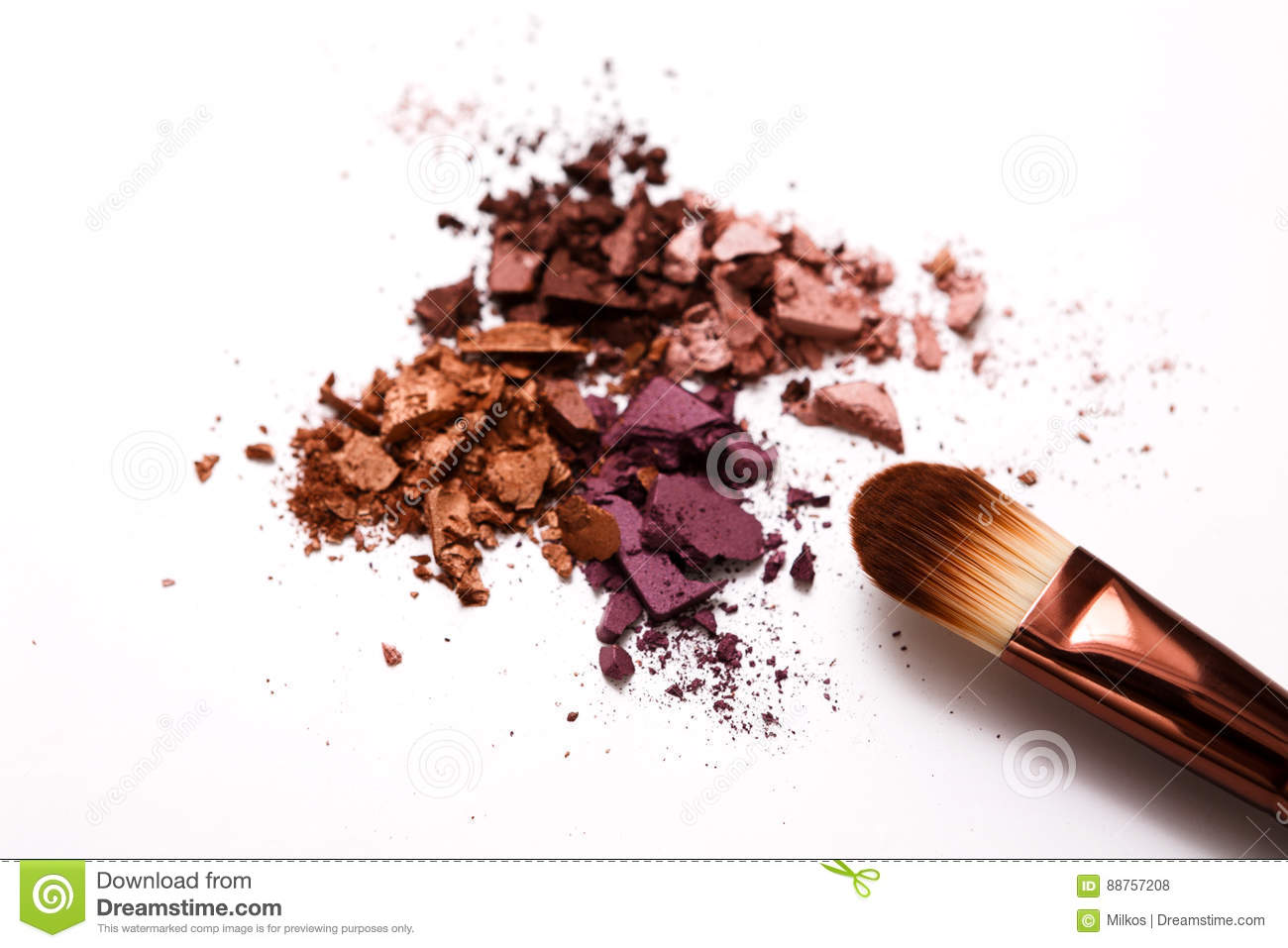 Makeup Brushes With Blush Or Eyeshadow Of Pink, Red And