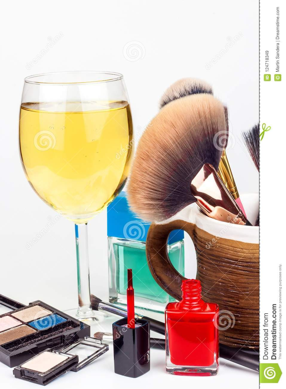 Makeup Brushes And A Glass Of White Wine  Lonely Woman