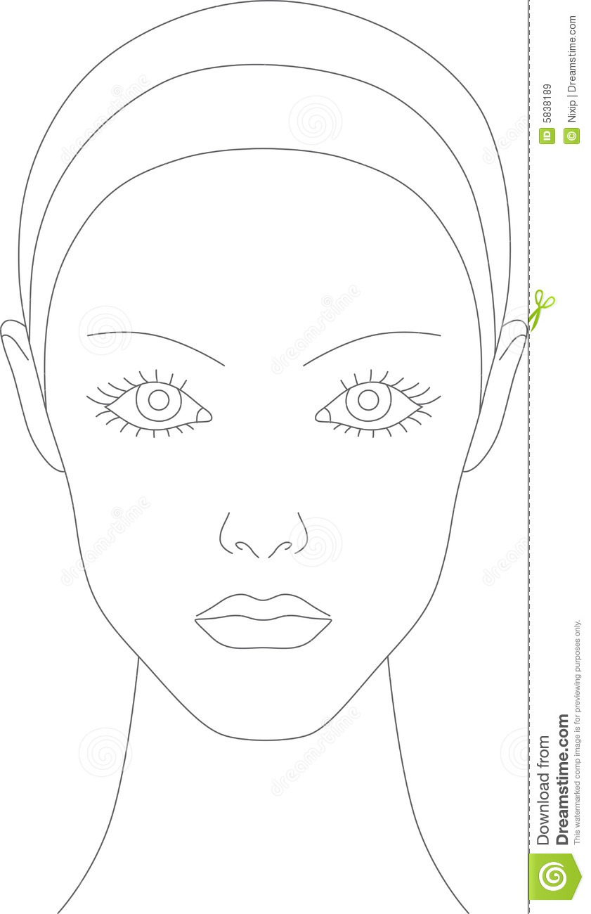 blank female face template - photo #25