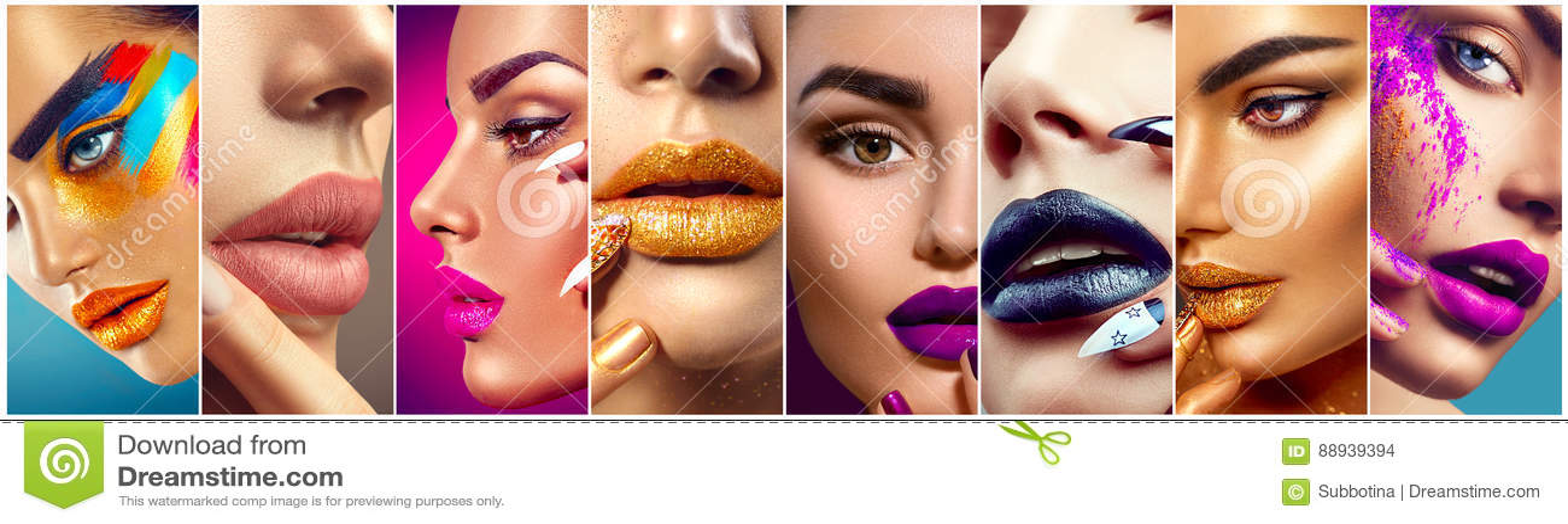 Makeup collage. Colorful lips, eyes, eyeshadows and nail art