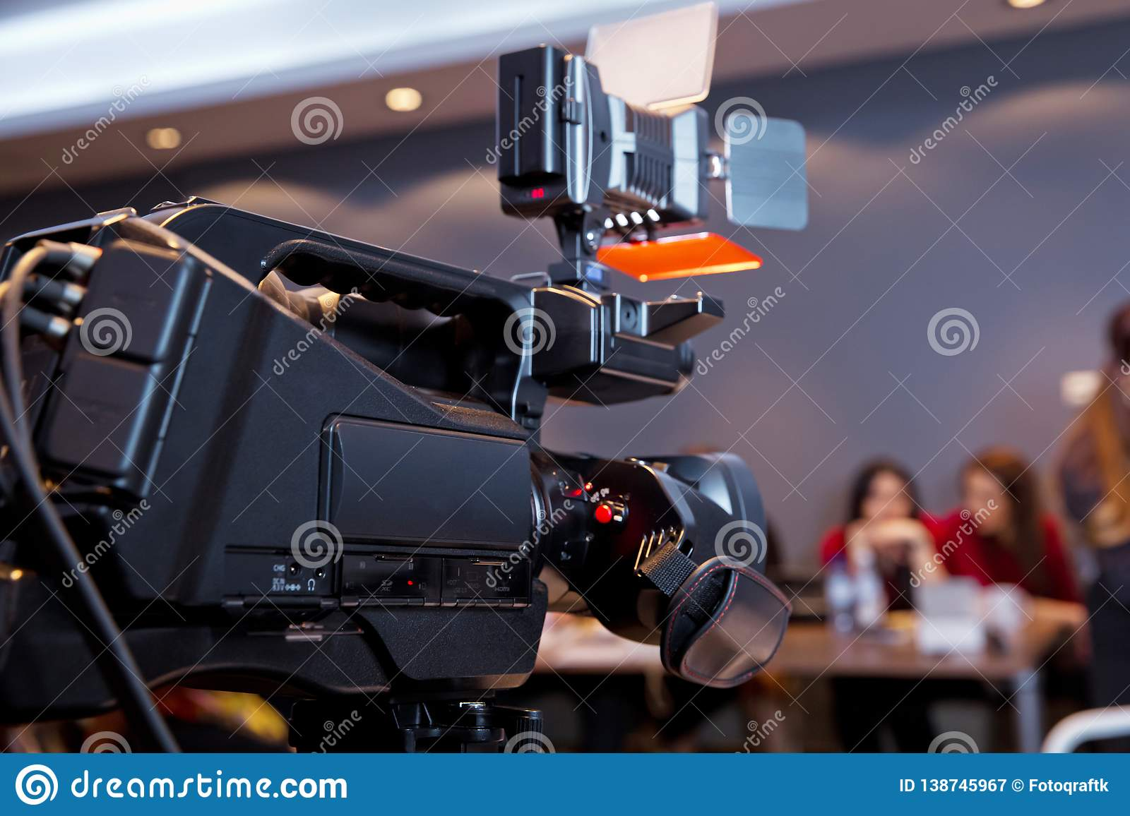 In front of the camera to recording vlog video live streaming at home.Business online influencer on social media concept