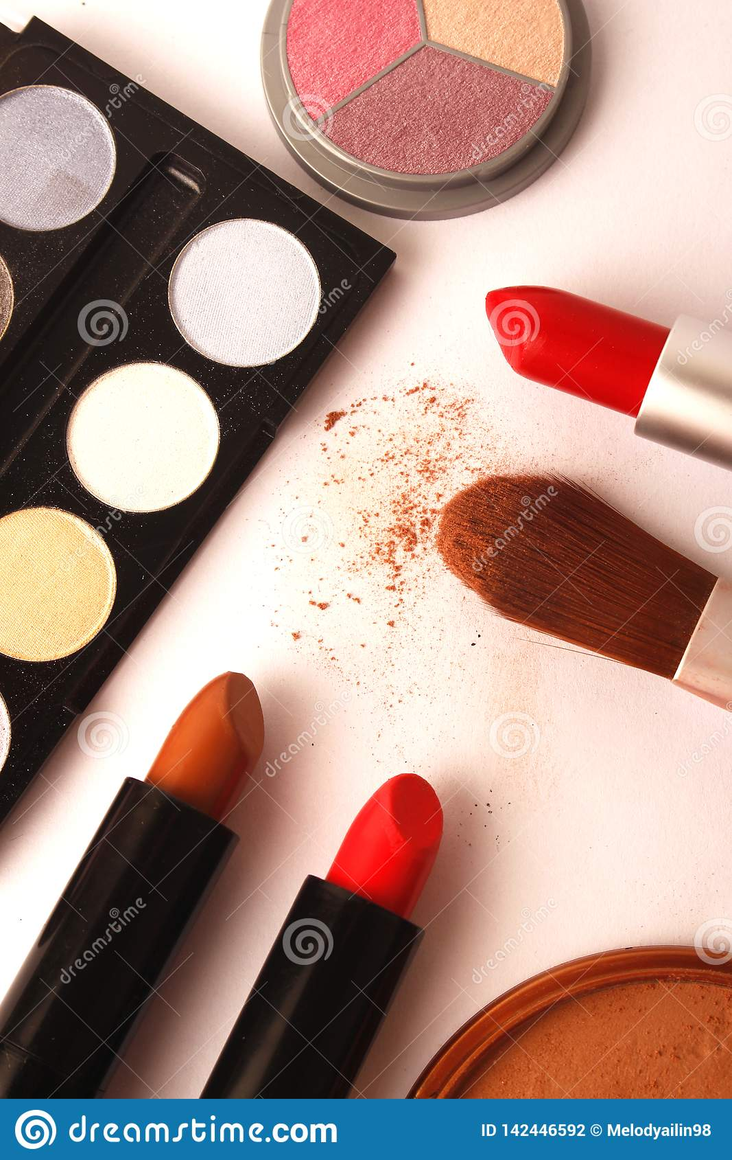 Makeup, cosmetics and brushes