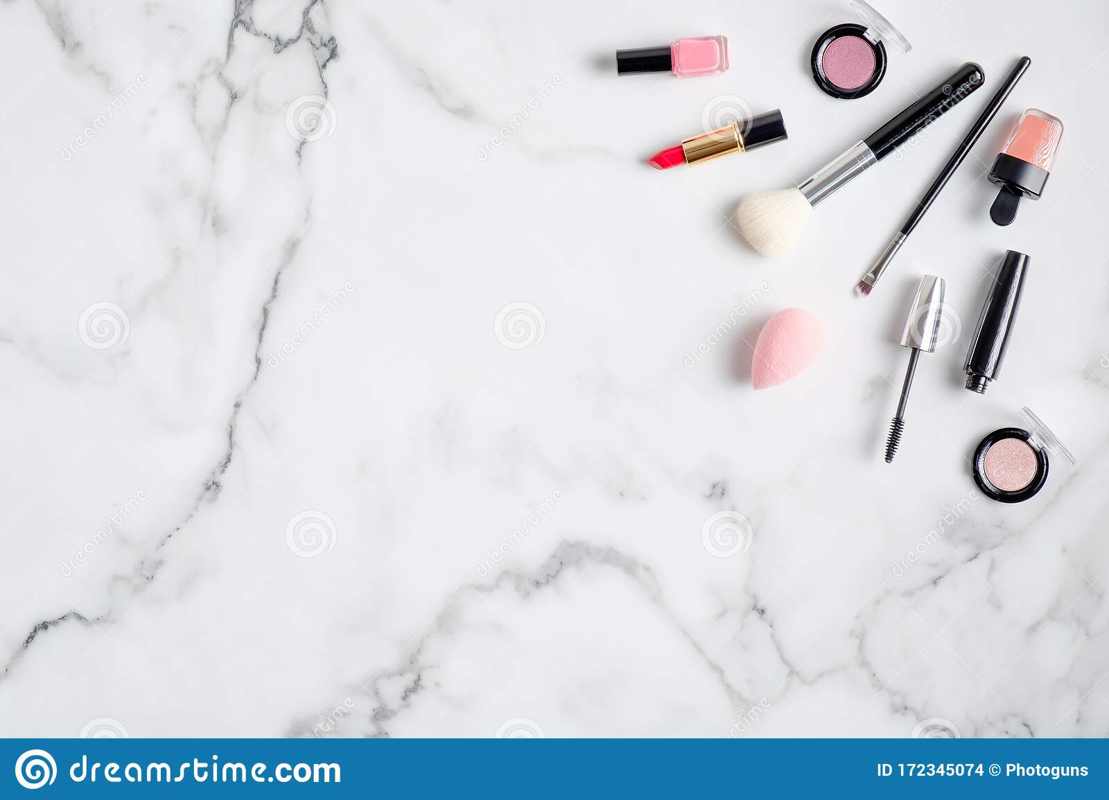 Makeup Cosmetics And Professional Beauty Products On Marble Background Flat Lay View From Above Beauty Salon Banner Design Stock Photo Image Of Banner Lipstick 172345074