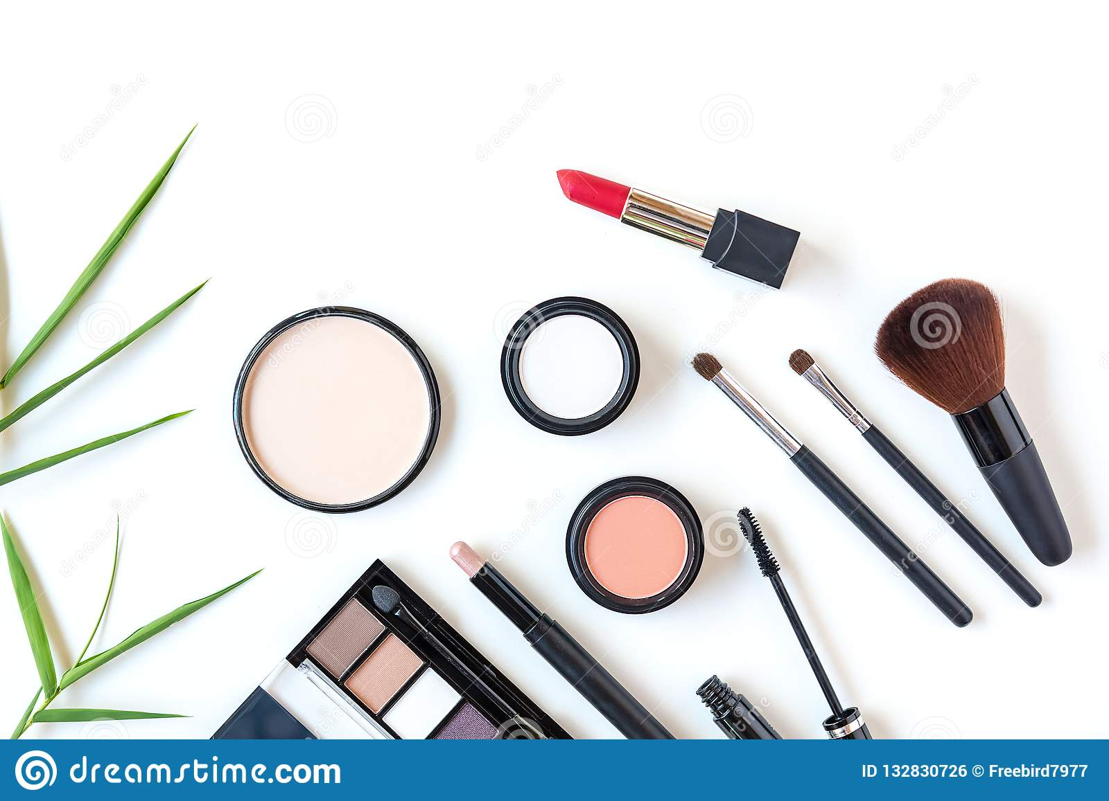Makeup cosmetics tools background and beauty cosmetics, products and facial cosmetics package lipstick, eyeshadow on the white bac