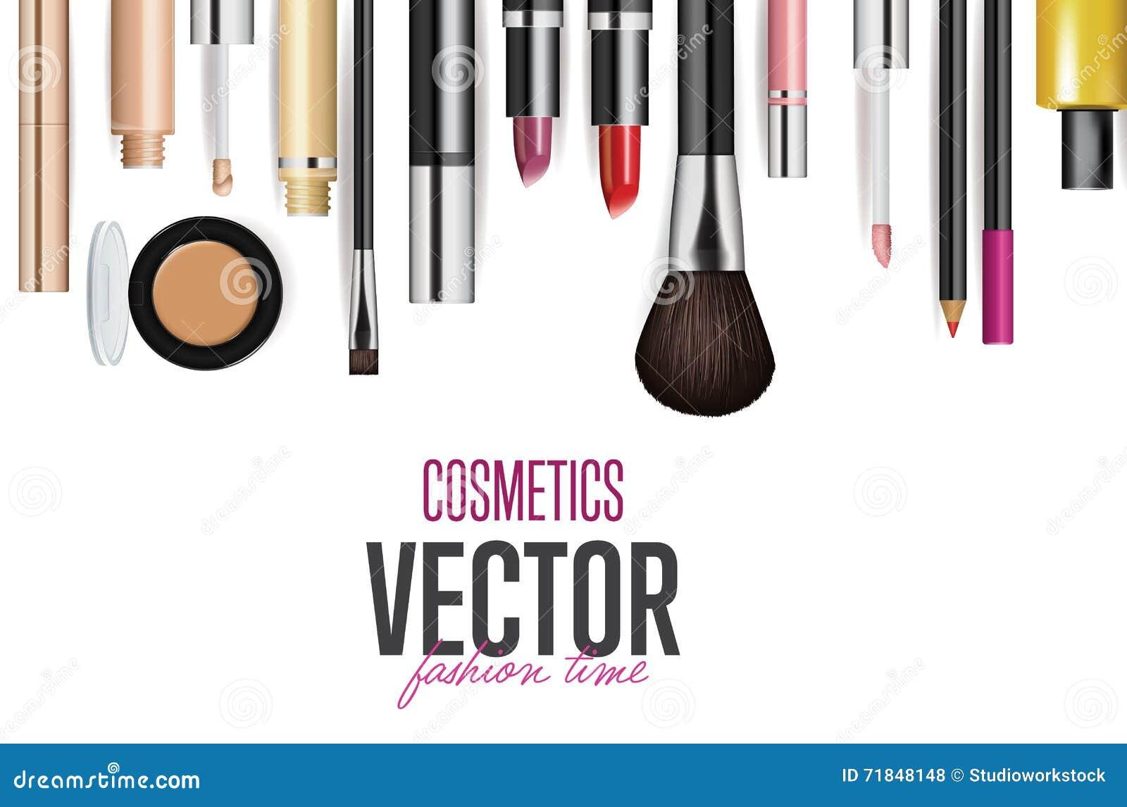 Fashion Cosmetics Background Cartoon Vector