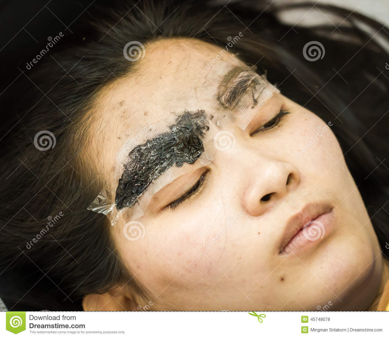 Makeup eyebrow tattooing pretty asian woman face stock for Asian face tattoos