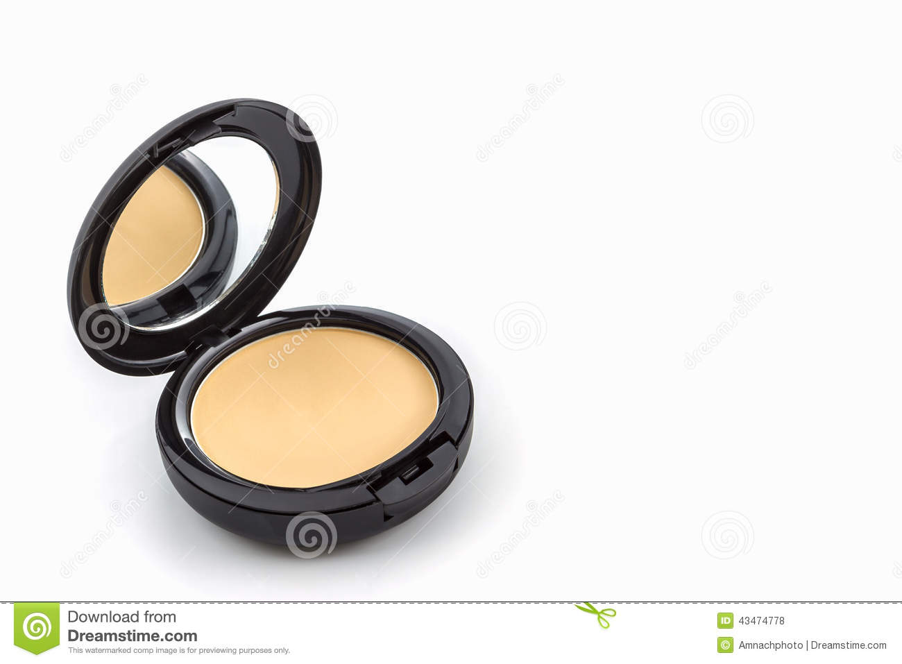 Makeup, Face powder in black case.