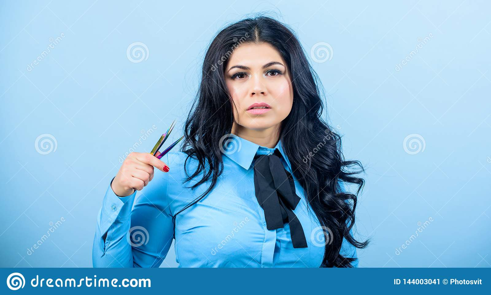 Makeup false lashes volume. Lash applicator. Eyelash extension tweezer. Professional makeup artist. Cosmetic tweezer