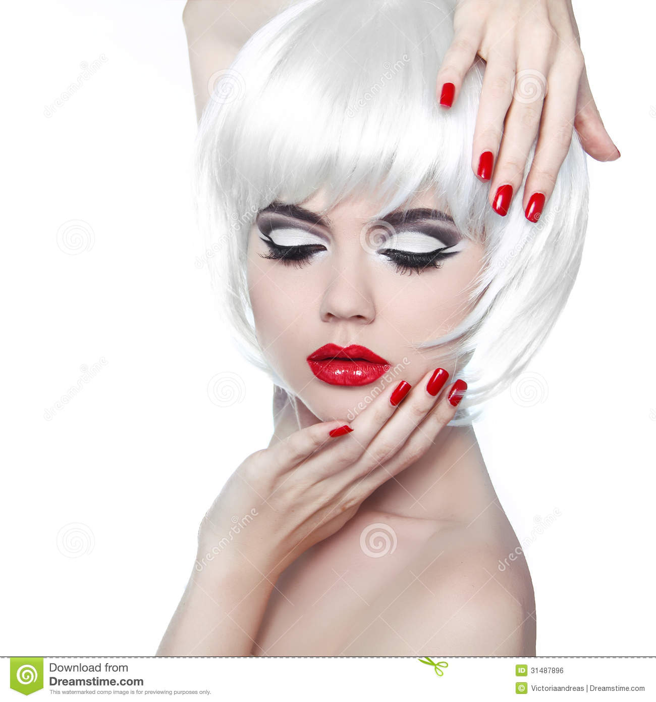 White Girl Fashion: Makeup And Hairstyle. Red Lips And Manicured Nails