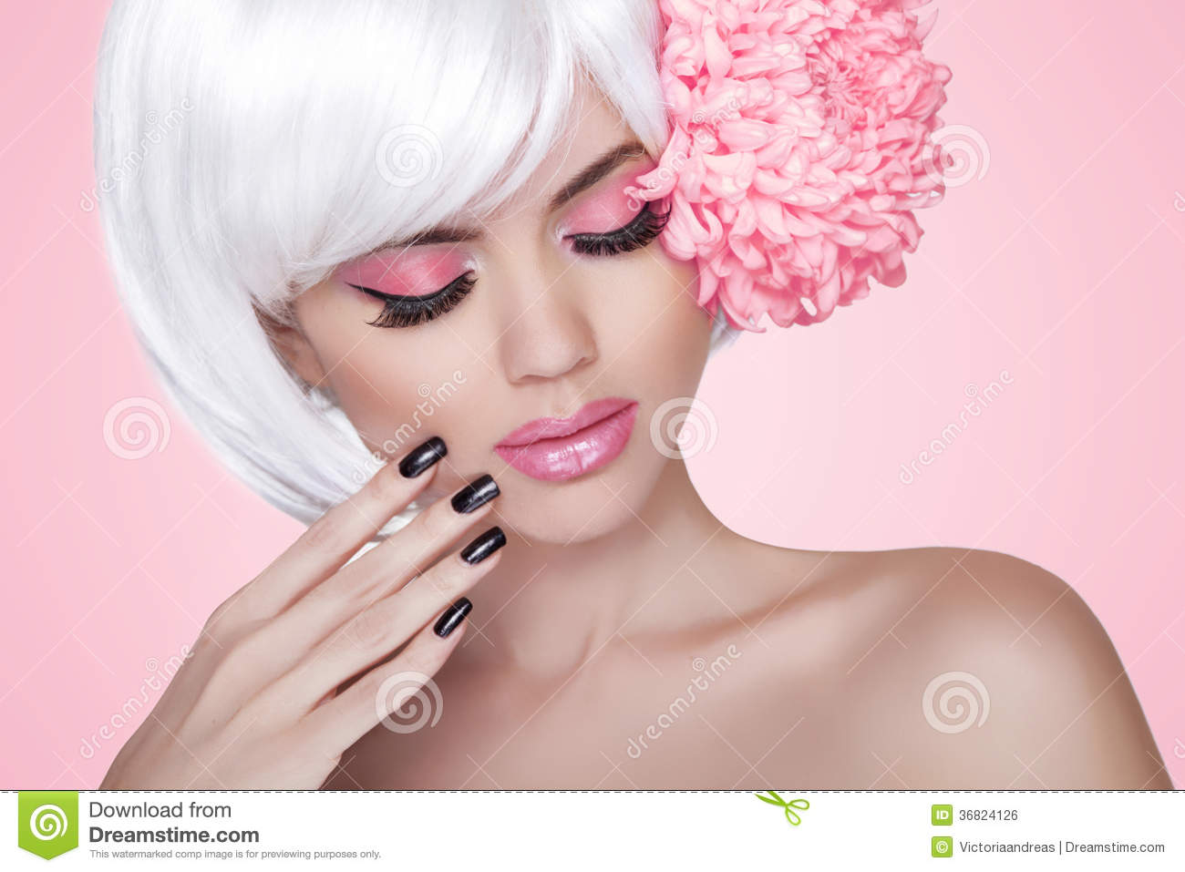 Makeup. Manicured Nails. Fashion Beauty Model Girl