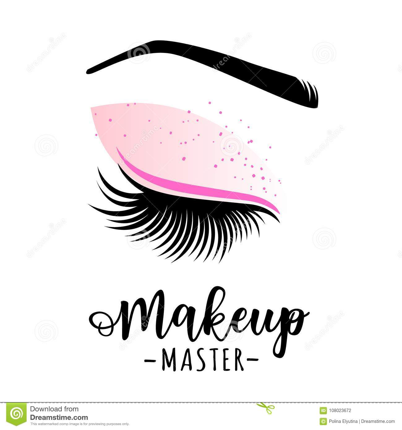 b44275f173f Makeup master logo. Vector illustration of lashes and brow. For beauty  salon, lash extensions maker, brow master.