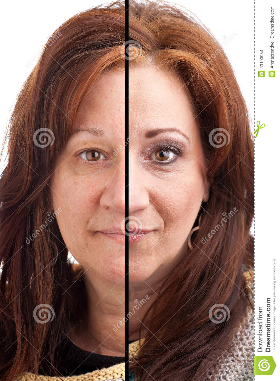 Makeup Before And After Stock Photo. Image Of Half Makeup - 33190954