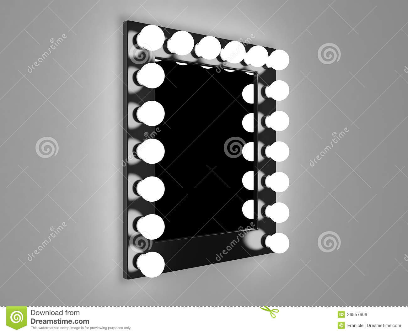 Makeup mirror stock illustration. Image of wall, illuminated - 26557606
