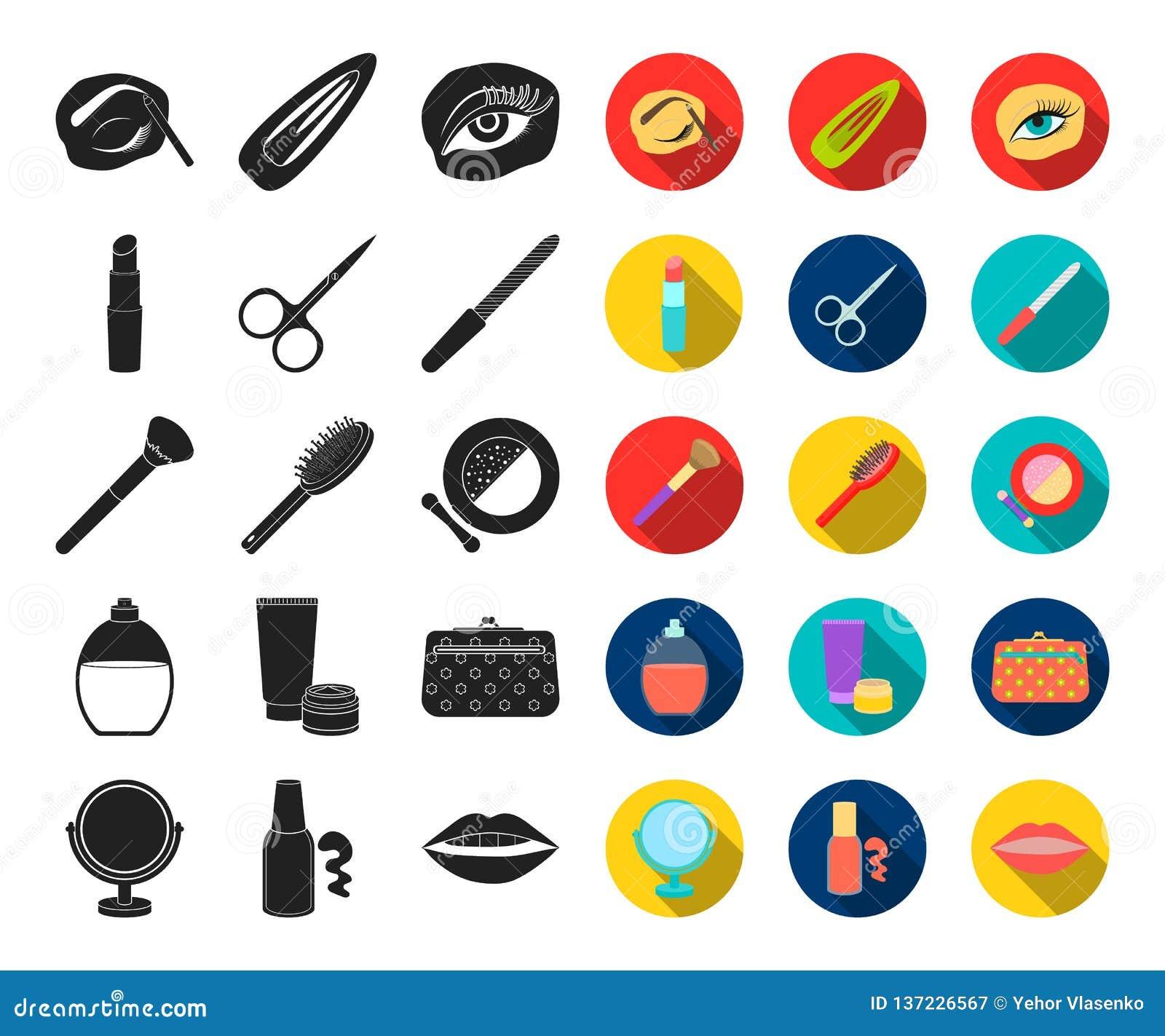 Makeup och skönhetsmedel svärtar, plana symboler i den fastställda samlingen för design Makeup och rengöringsduk för materiel för
