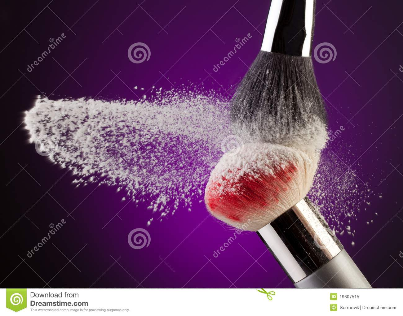 Makeup powder and brushes
