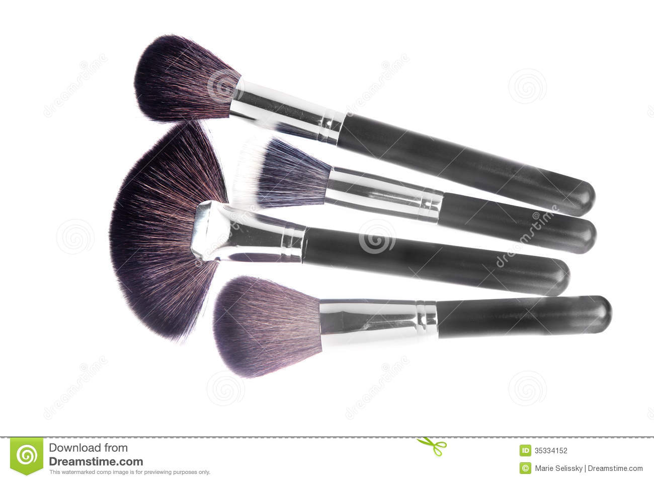Different types of makeup powder and foundation brushes isolated on white