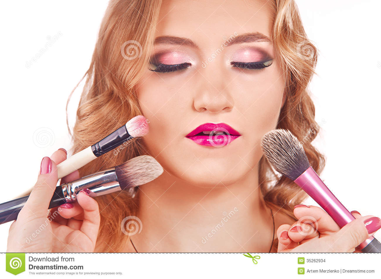 Makeup Process Of A Young Pretty Girl Stock Photo - Image ...