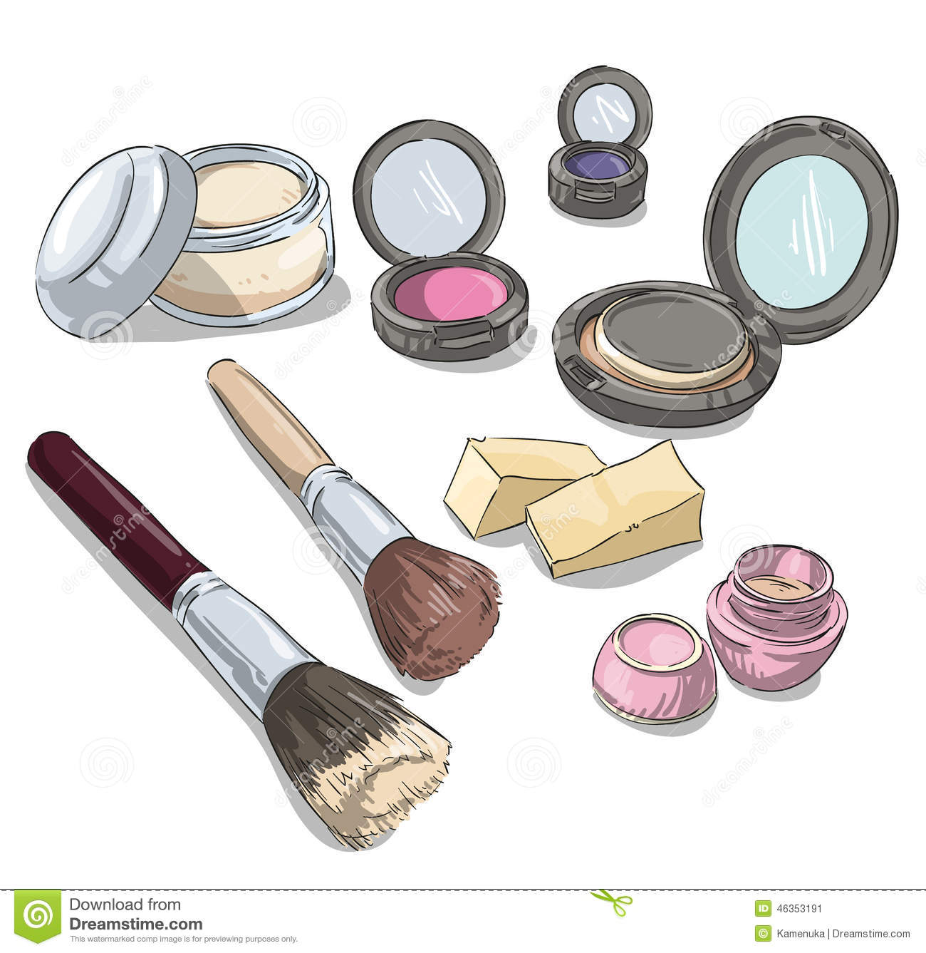 Makeup Products Drawing Fashion Illustration Stock