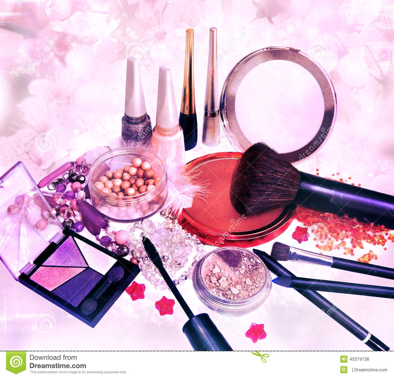 Makeup products and jewelry on floral background stock for What is cosmetics made of