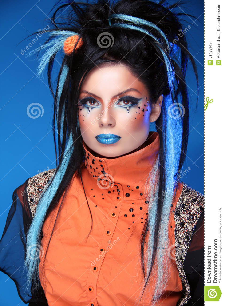 Makeup. Punk Hairstyle. Close Up Portrait Of Rock Girl With Blue Royalty Free Stock Photo ...