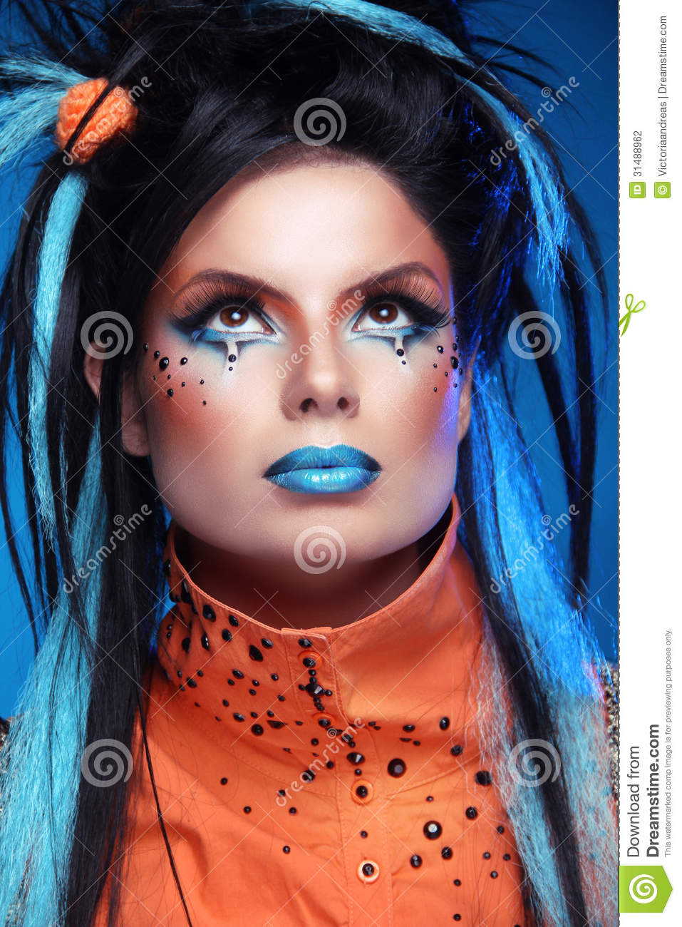 makeup hair style video makeup hairstyle up portrait of rock 8573 | makeup punk hairstyle close up portrait rock girl blue lips black hair styling colored strand hair 31488962