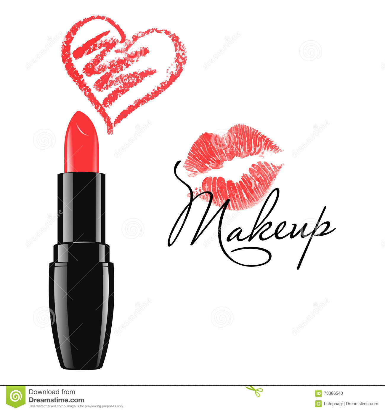 Kiss Makeup Design Ownership: Set Of Two Vector Lipstick Kisses Vector Illustration