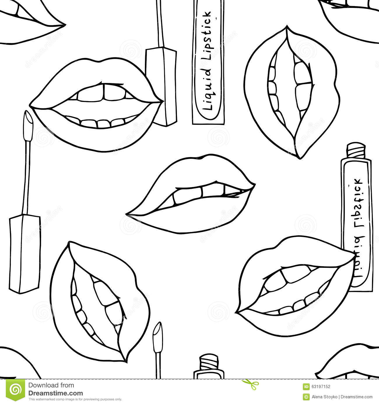 Makeup seamless pattern stock vector illustration of for Lipstick coloring pages