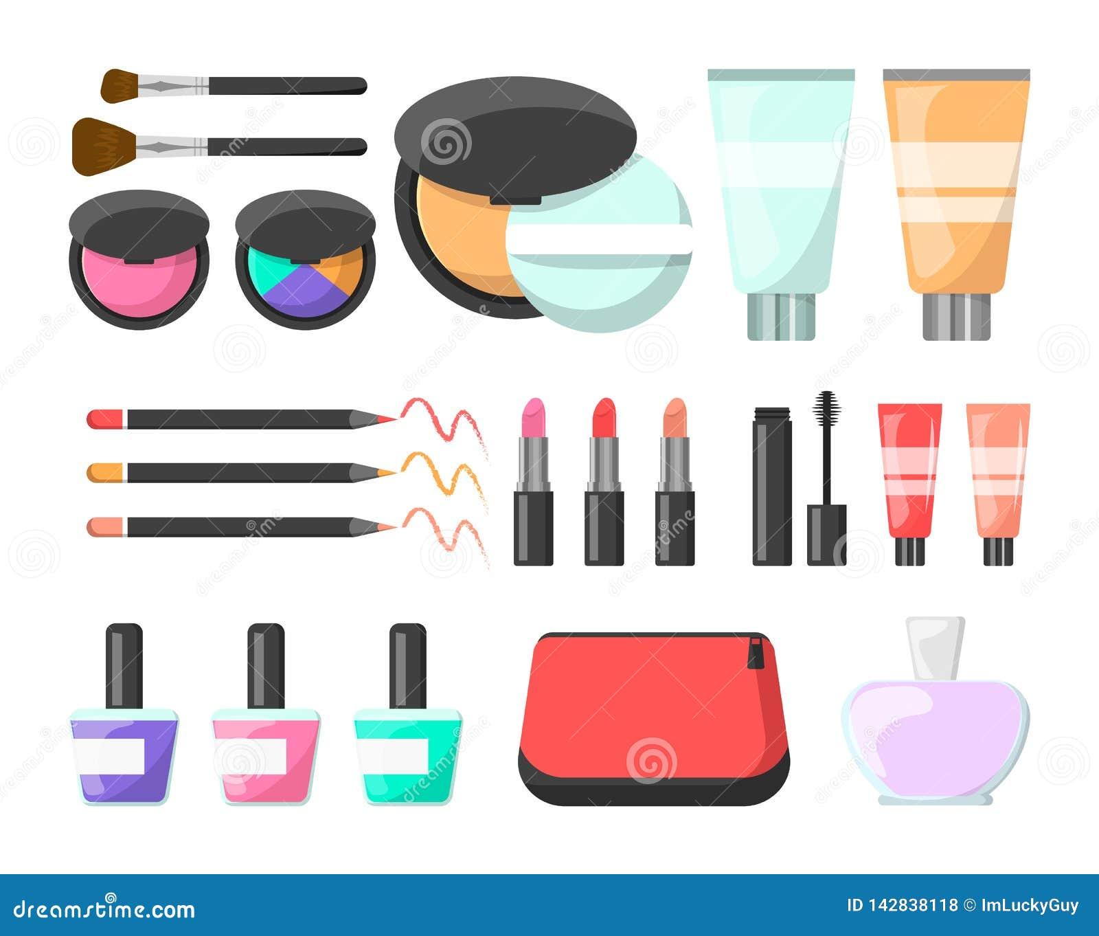 Makeup set. Cream, cosmetics brush, mascara and perfume