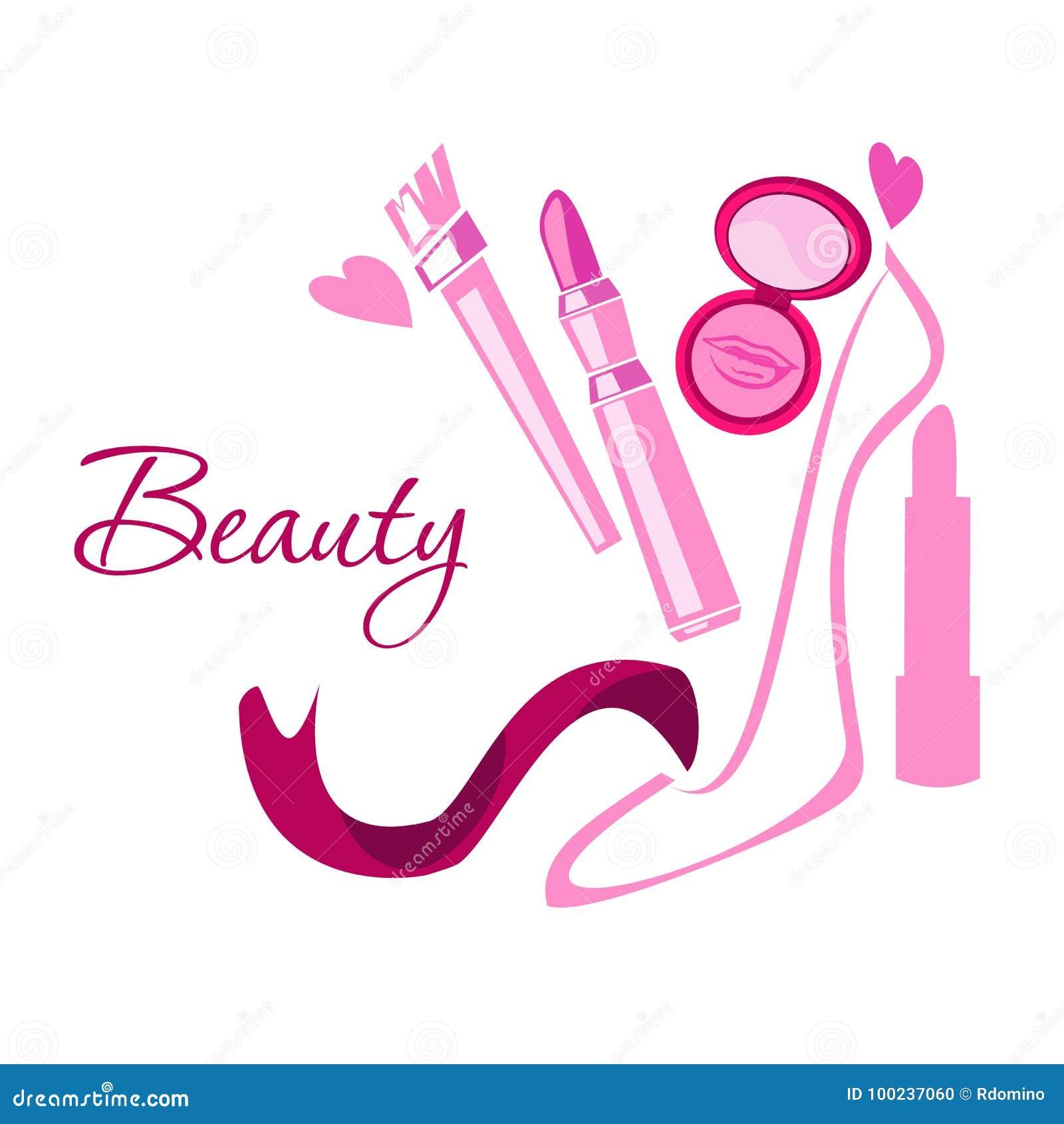 Makeup Style Beauty Logo Emblem With Lipstick Brush Powder