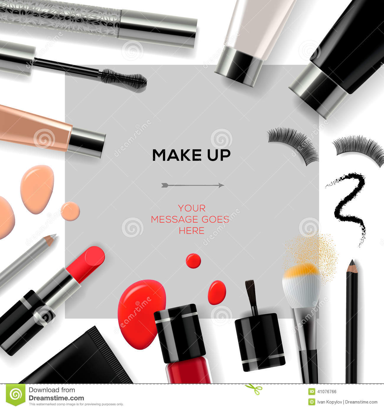 Makeup template with collection of make up cosmetics and accessories ...