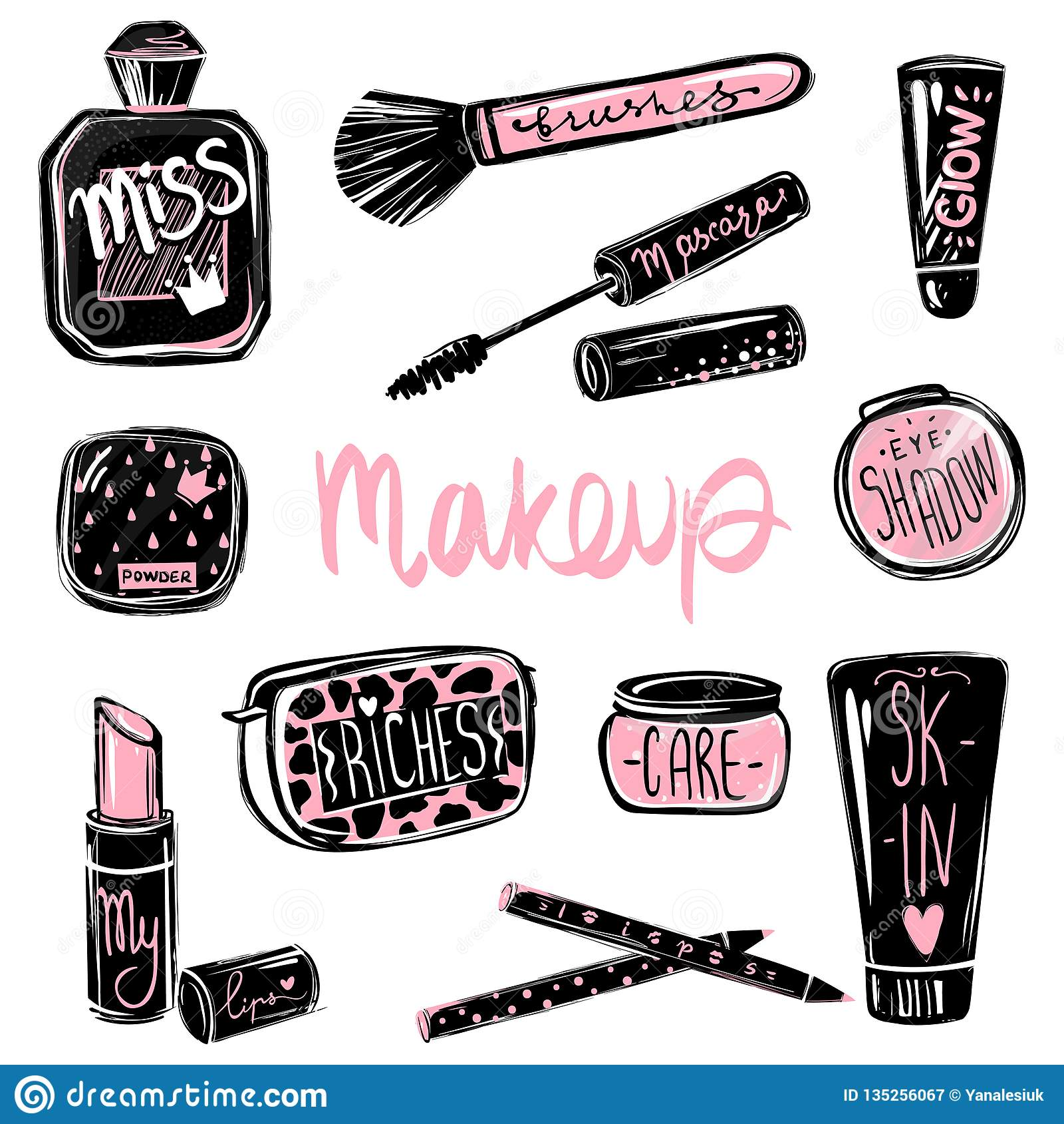 327afe2fe68 Makeup vector set. Mascara, lipstick, eye shadows, brush, foundation,  perfume. Cosmetics beauty elements. Stickers for girls. Beautiful fashion  illustration ...