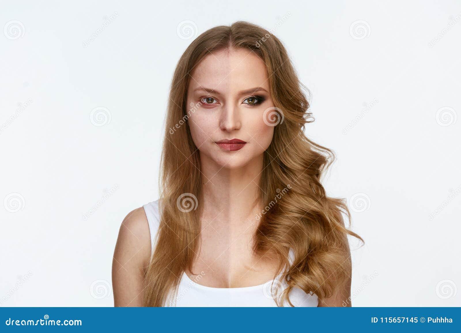 Makeupmakt Makeup för skönhet för kvinnaframsida före och efter