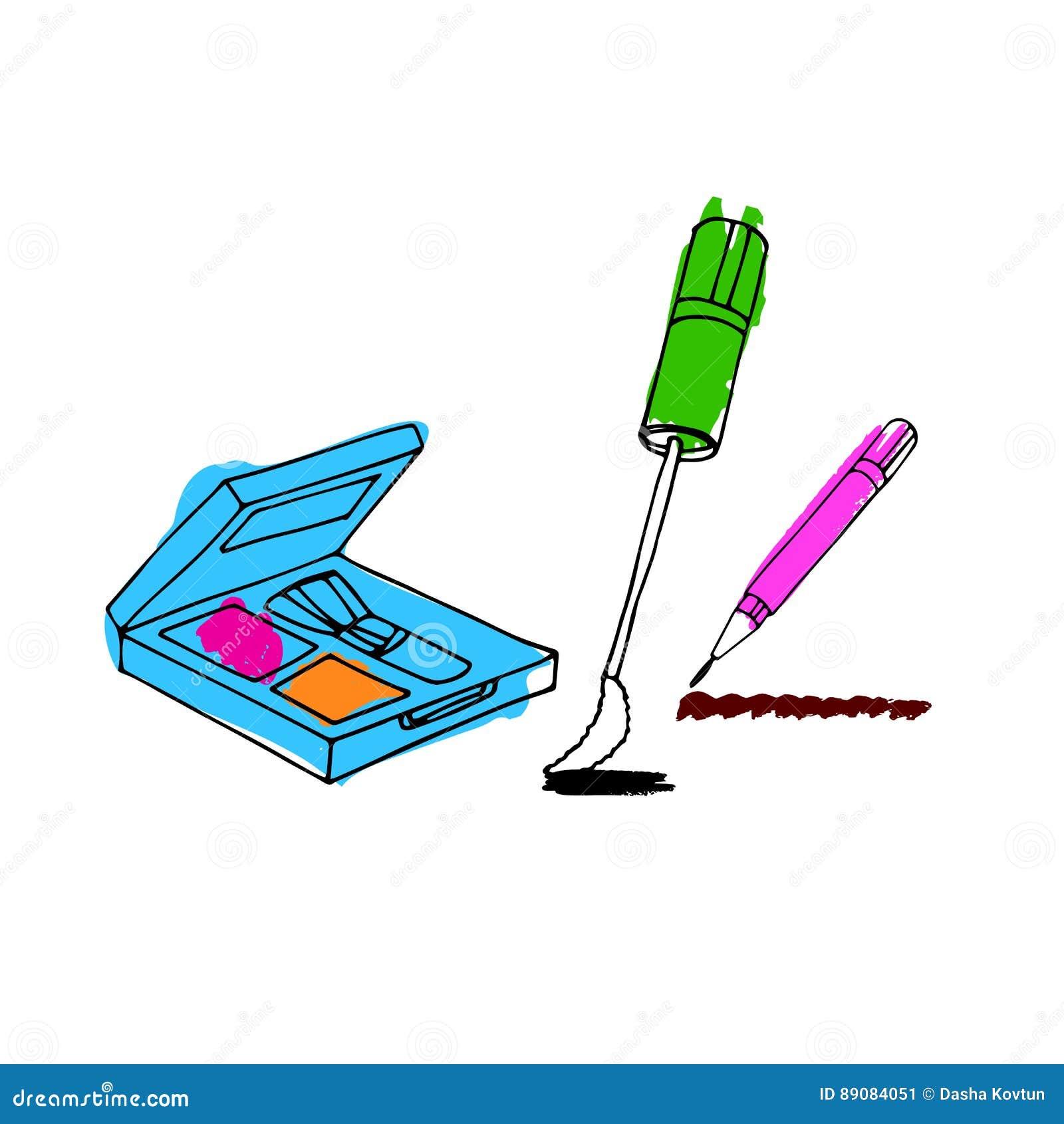 Makeuptillbehöruppsättning Borsta, pudra, läppstift, ögonblyertspennan, nai