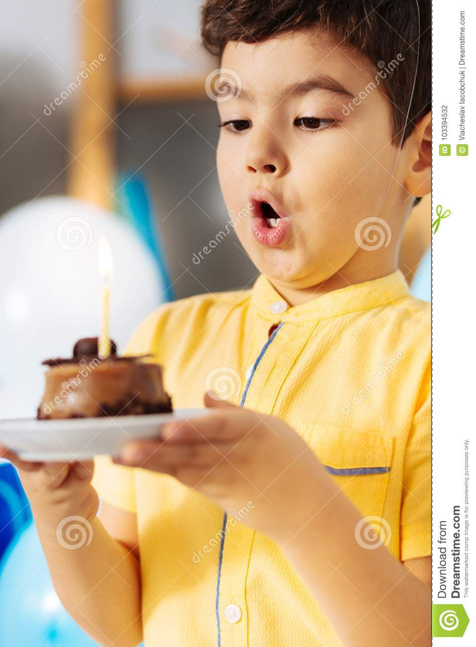 Cute Little Boy Blowing Out Candle On His Birthday Cake
