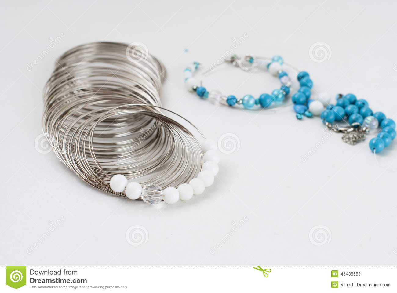 Making A Bracelet Of Turquoise. Beads, Wire Tools Stock Image ...