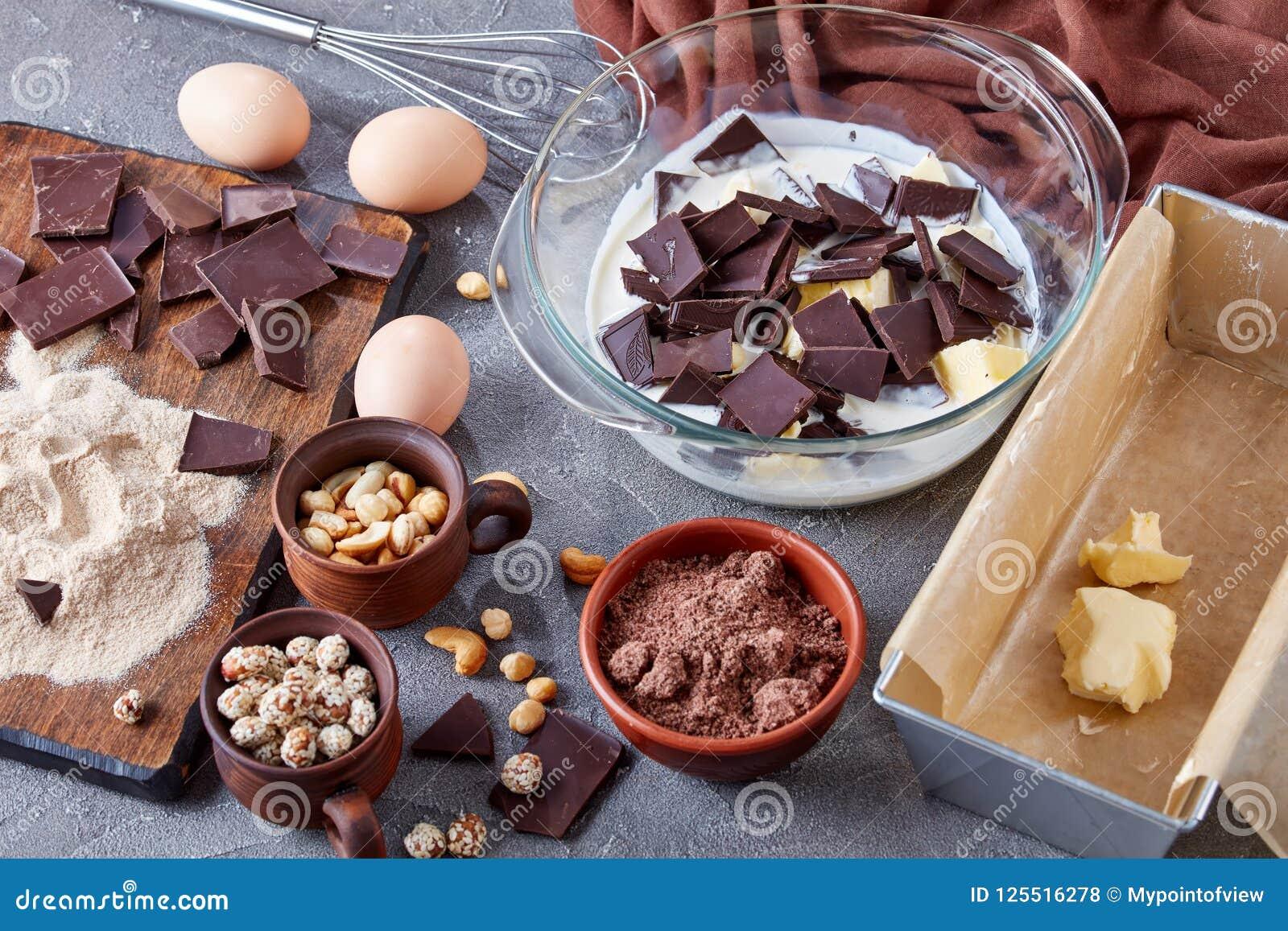 Making chocolate pound cake, top view