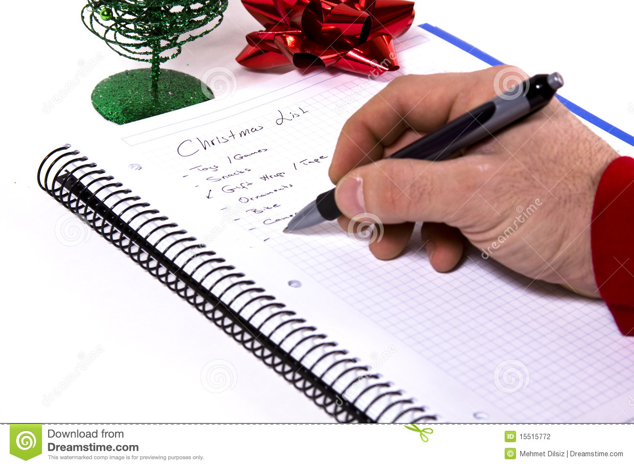 making the christmas list stock photo image of writing 15515772